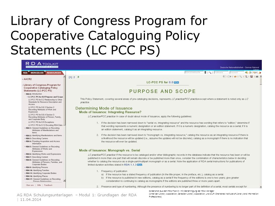 Library of Congress Program for Cooperative Cataloguing Policy Statements (LC PCC PS) Screenshot aus dem RDA-Toolkit mit Genehmigung der RDA-Verleger