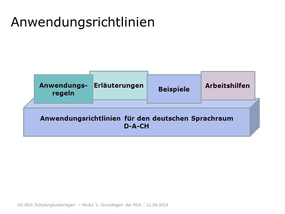 Anwendungsrichtlinien AG RDA Schulungsunterlagen – Modul 1: Grundlagen der RDA | 11.04.2014 Anwendungsrichtlinien für den deutschen Sprachraum D-A-CH