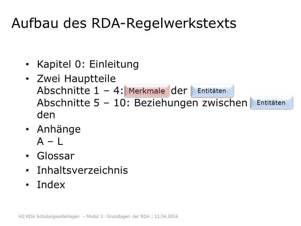 Aufbau des RDA-Regelwerkstexts Kapitel 0: Einleitung Zwei Hauptteile Abschnitte 1 – 4: der Abschnitte 5 – 10: Beziehungen zwischen den Anhänge A – L G