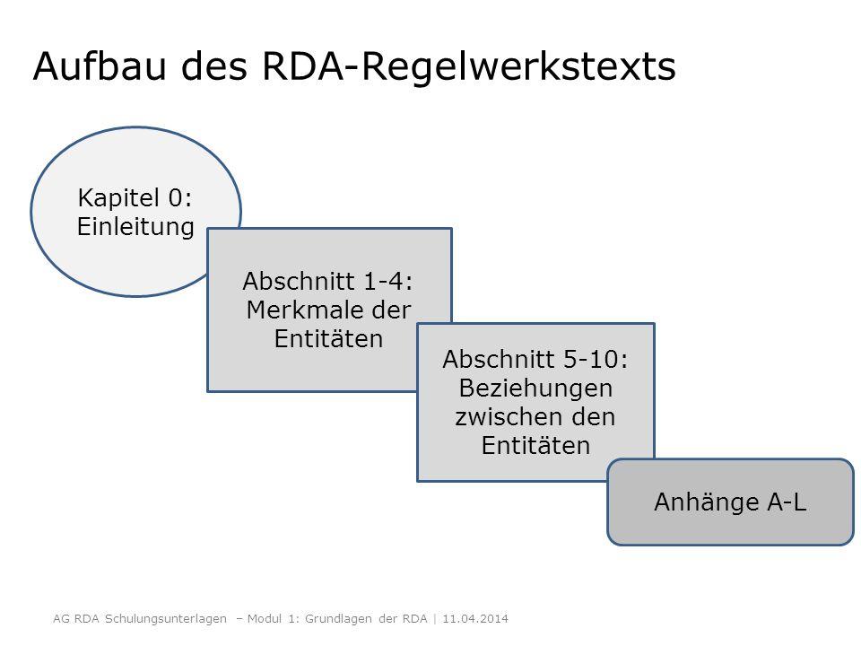 Aufbau des RDA-Regelwerkstexts AG RDA Schulungsunterlagen – Modul 1: Grundlagen der RDA | 11.04.2014 Kapitel 0: Einleitung Abschnitt 1-4: Merkmale der