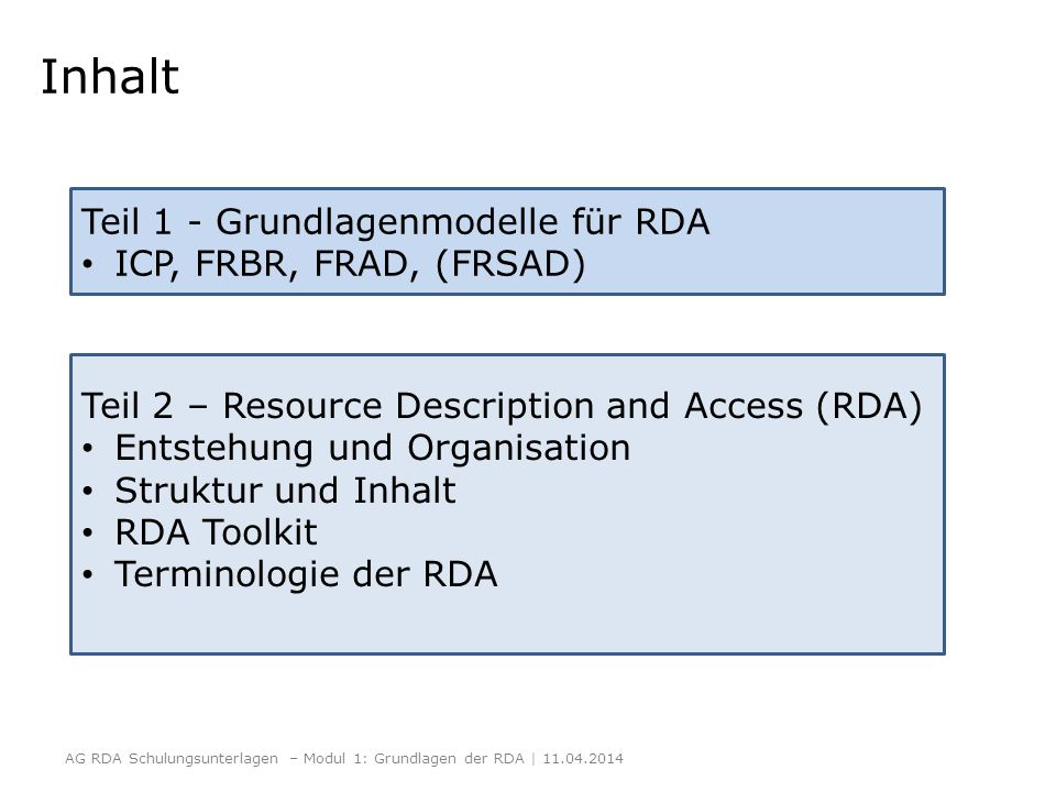 RDA Toolkit http://access.rdatoolkit.org/http://www.rdatoolkit.org/ Screenshot aus dem RDA-Toolkit mit Genehmigung der RDA-Verleger (American Library Association, Canadian Library Association, und CILIP: Chartered Institute of Library and Information Professionals) AG RDA Schulungsunterlagen – Modul 1: Grundlagen der RDA | 11.04.2014