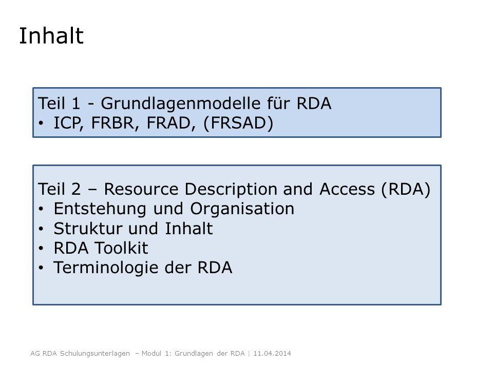 Inhalt AG RDA Schulungsunterlagen – Modul 1: Grundlagen der RDA | 11.04.2014 Teil 1 - Grundlagenmodelle für RDA ICP, FRBR, FRAD, (FRSAD) Teil 2 – Reso