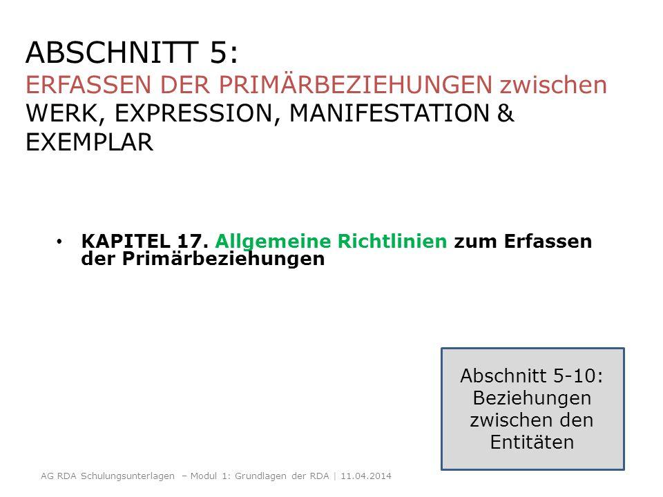 ABSCHNITT 5: ERFASSEN DER PRIMÄRBEZIEHUNGEN zwischen WERK, EXPRESSION, MANIFESTATION & EXEMPLAR KAPITEL 17. Allgemeine Richtlinien zum Erfassen der Pr