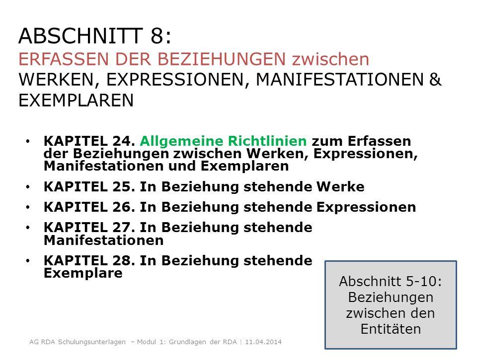 ABSCHNITT 8: ERFASSEN DER BEZIEHUNGEN zwischen WERKEN, EXPRESSIONEN, MANIFESTATIONEN & EXEMPLAREN KAPITEL 24. Allgemeine Richtlinien zum Erfassen der
