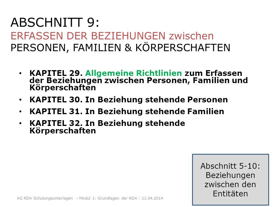 ABSCHNITT 9: ERFASSEN DER BEZIEHUNGEN zwischen PERSONEN, FAMILIEN & KÖRPERSCHAFTEN KAPITEL 29. Allgemeine Richtlinien zum Erfassen der Beziehungen zwi