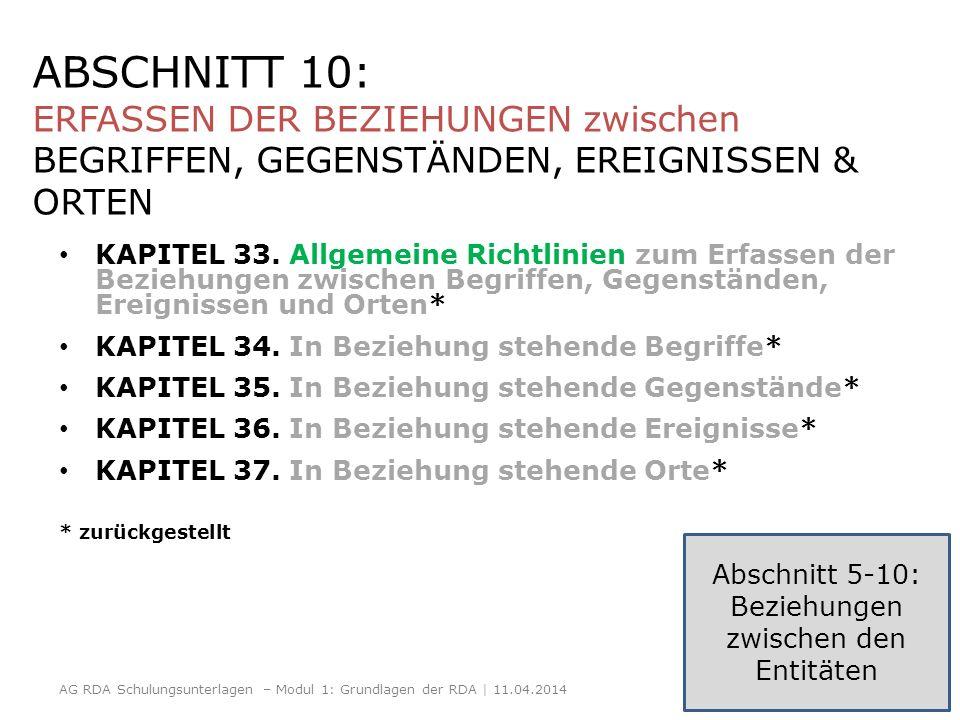 ABSCHNITT 10: ERFASSEN DER BEZIEHUNGEN zwischen BEGRIFFEN, GEGENSTÄNDEN, EREIGNISSEN & ORTEN KAPITEL 33. Allgemeine Richtlinien zum Erfassen der Bezie