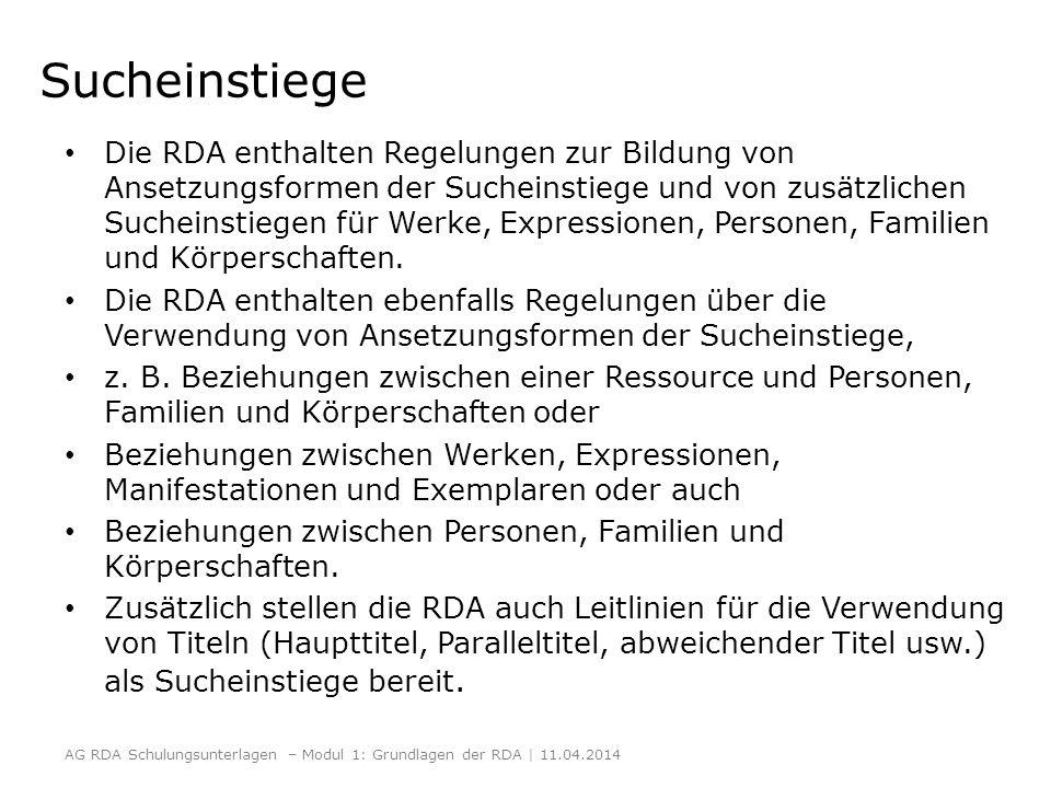 Sucheinstiege Die RDA enthalten Regelungen zur Bildung von Ansetzungsformen der Sucheinstiege und von zusätzlichen Sucheinstiegen für Werke, Expressio