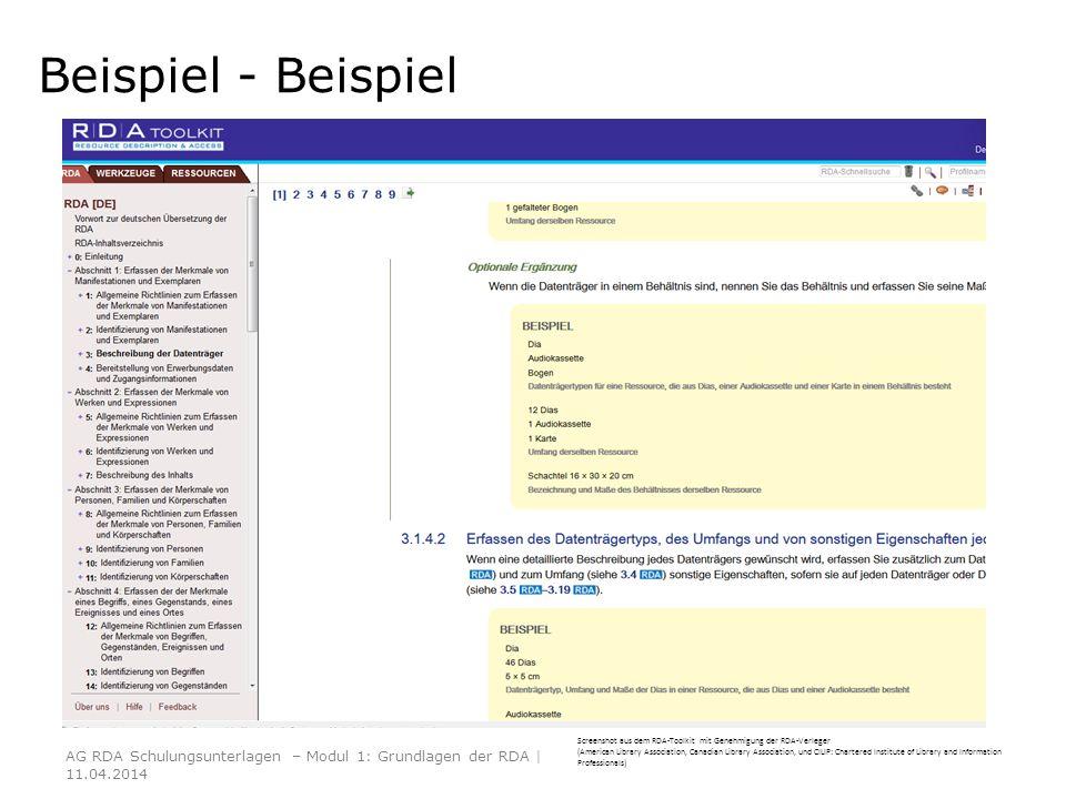 Beispiel - Beispiel AG RDA Schulungsunterlagen – Modul 1: Grundlagen der RDA | 11.04.2014 Screenshot aus dem RDA-Toolkit mit Genehmigung der RDA-Verle