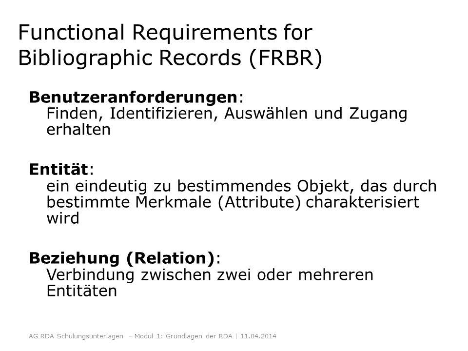 Functional Requirements for Bibliographic Records (FRBR) Benutzeranforderungen: Finden, Identifizieren, Auswählen und Zugang erhalten Entität: ein ein