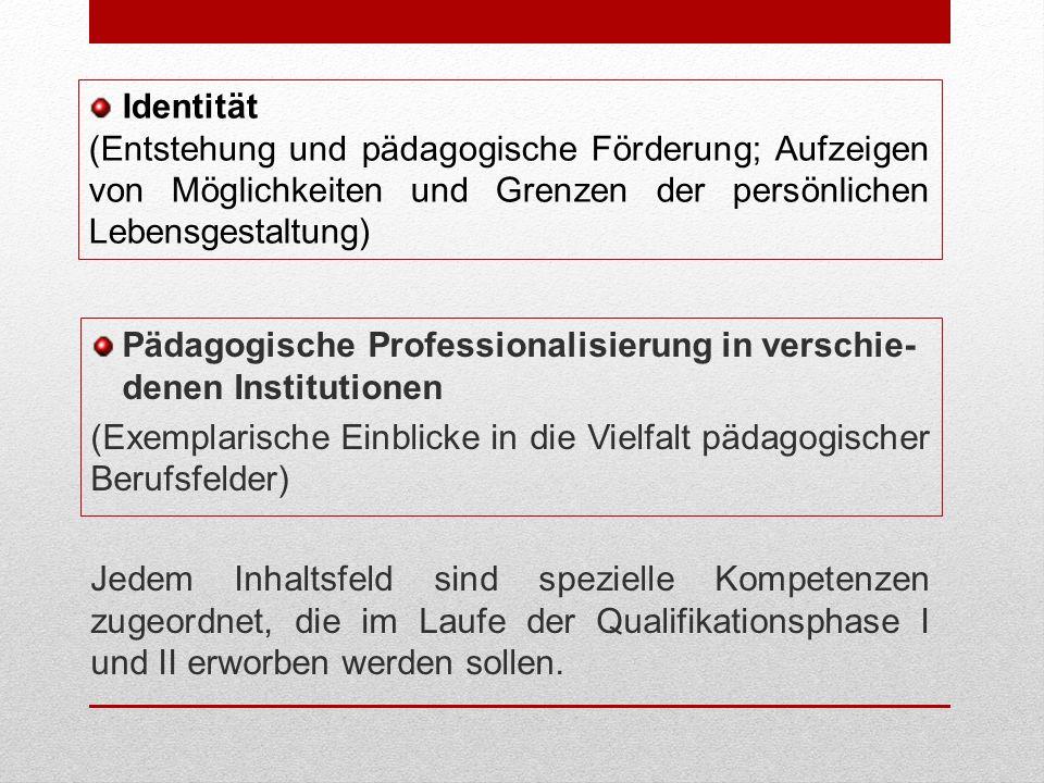 Pädagogische Professionalisierung in verschie- denen Institutionen (Exemplarische Einblicke in die Vielfalt pädagogischer Berufsfelder) Jedem Inhaltsfeld sind spezielle Kompetenzen zugeordnet, die im Laufe der Qualifikationsphase I und II erworben werden sollen.