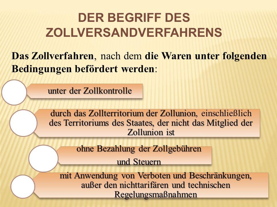 DER BEGRIFF DES ZOLLVERSANDVERFAHRENS Das Zollverfahren, nach dem die Waren unter folgenden Bedingungen befördert werden: unter der Zollkontrolle durc