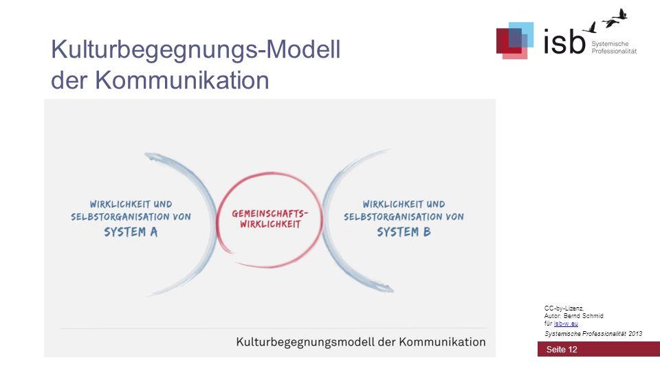 Kulturbegegnungs-Modell der Kommunikation Seite 12 CC-by-Lizenz, Autor: Bernd Schmid für isb-w.euisb-w.eu Systemische Professionalität 2013