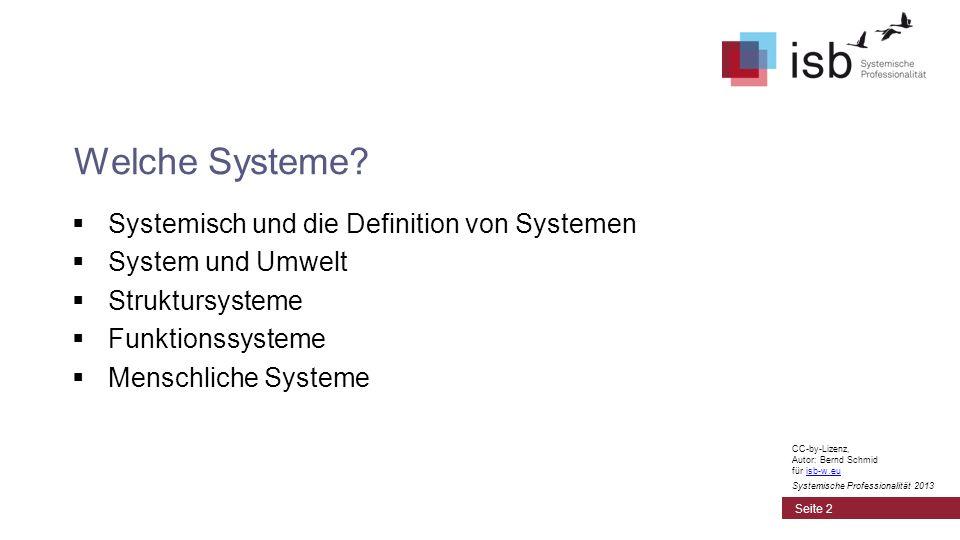 Systemisch und die Definition von Systemen System und Umwelt Struktursysteme Funktionssysteme Menschliche Systeme Welche Systeme? Seite 2 CC-by-Lizenz