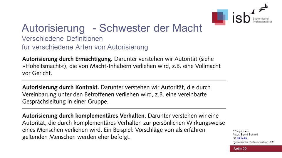 Autorisierung - Schwester der Macht Verschiedene Definitionen für verschiedene Arten von Autorisierung Seite 22 CC-by-Lizenz, Autor: Bernd Schmid für isb-w.euisb-w.eu Systemische Professionalität 2013