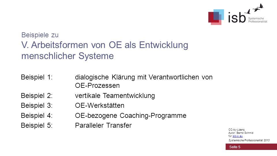 Beispiel 1: dialogische Klärung mit Verantwortlichen von OE-Prozessen Beispiel 2: vertikale Teamentwicklung Beispiel 3: OE-Werkstätten Beispiel 4: OE-bezogene Coaching-Programme Beispiel 5: Paralleler Transfer Beispiele zu V.