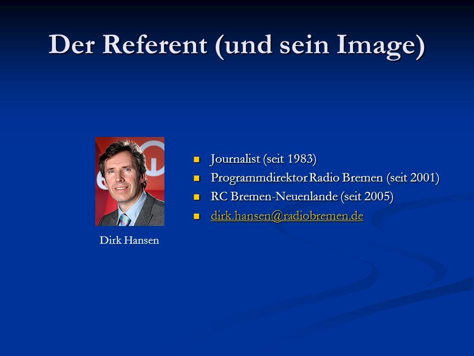Der Referent (und sein Image) Journalist (seit 1983) Journalist (seit 1983) Programmdirektor Radio Bremen (seit 2001) Programmdirektor Radio Bremen (seit 2001) RC Bremen-Neuenlande (seit 2005) RC Bremen-Neuenlande (seit 2005) dirk.hansen@radiobremen.de dirk.hansen@radiobremen.de dirk.hansen@radiobremen.de Dirk Hansen