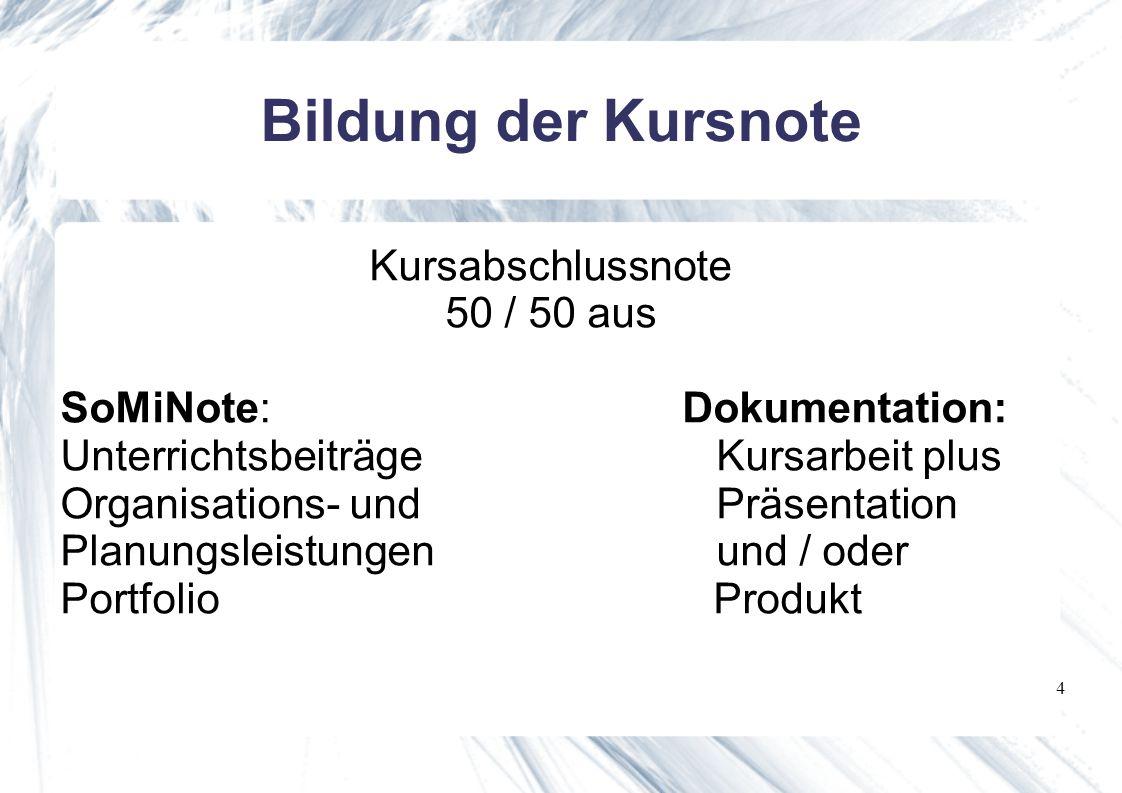 4 Kursabschlussnote 50 / 50 aus SoMiNote: Dokumentation: Unterrichtsbeiträge Kursarbeit plus Organisations- und Präsentation Planungsleistungen und / oder Portfolio Produkt Bildung der Kursnote