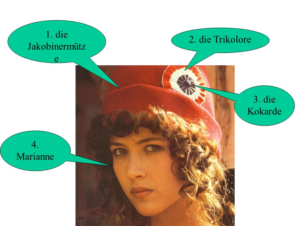 1. die Jakobinermütz e 2. die Trikolore 3. die Kokarde 4. Marianne