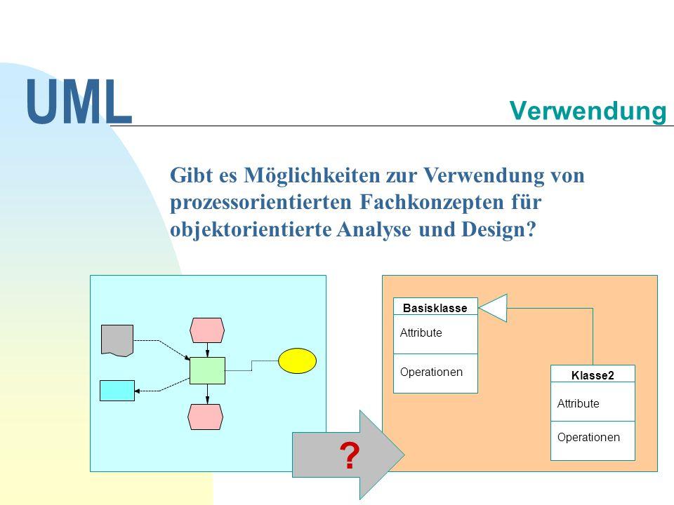 Gibt es Möglichkeiten zur Verwendung von prozessorientierten Fachkonzepten für objektorientierte Analyse und Design? UML Verwendung Basisklasse Klasse