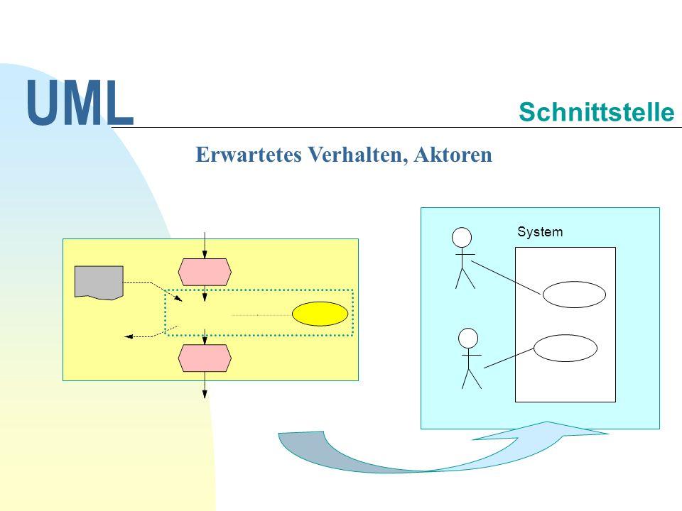 Erwartetes Verhalten, Aktoren UML Schnittstelle System