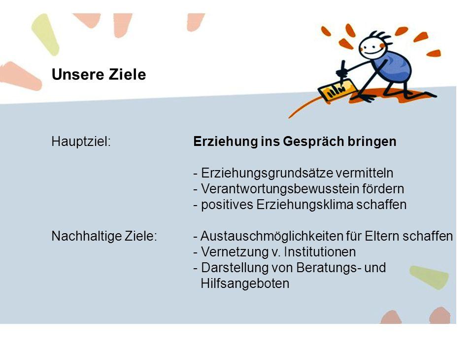 Unsere Ziele Hauptziel:Erziehung ins Gespräch bringen - Erziehungsgrundsätze vermitteln - Verantwortungsbewusstein fördern - positives Erziehungsklima schaffen Nachhaltige Ziele:- Austauschmöglichkeiten für Eltern schaffen - Vernetzung v.