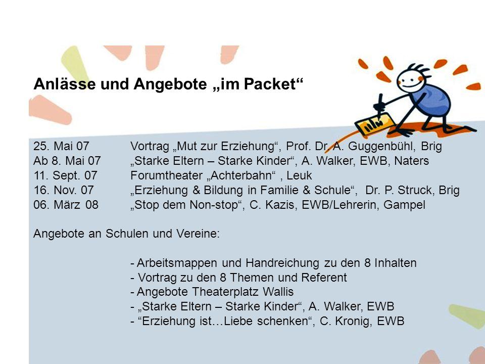 Anlässe und Angebote im Packet 25. Mai 07Vortrag Mut zur Erziehung, Prof.