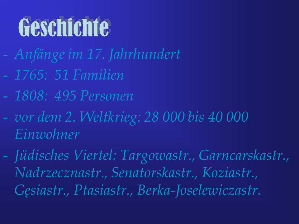 Geschichte - Anfänge im 17. Jahrhundert - 1765: 51 Familien - 1808: 495 Personen - vor dem 2. Weltkrieg: 28 000 bis 40 000 Einwohner - Jüdisches Viert