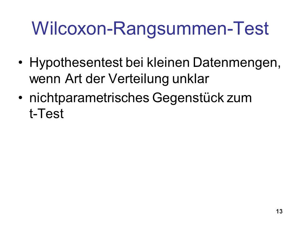 13 Wilcoxon-Rangsummen-Test Hypothesentest bei kleinen Datenmengen, wenn Art der Verteilung unklar nichtparametrisches Gegenstück zum t-Test