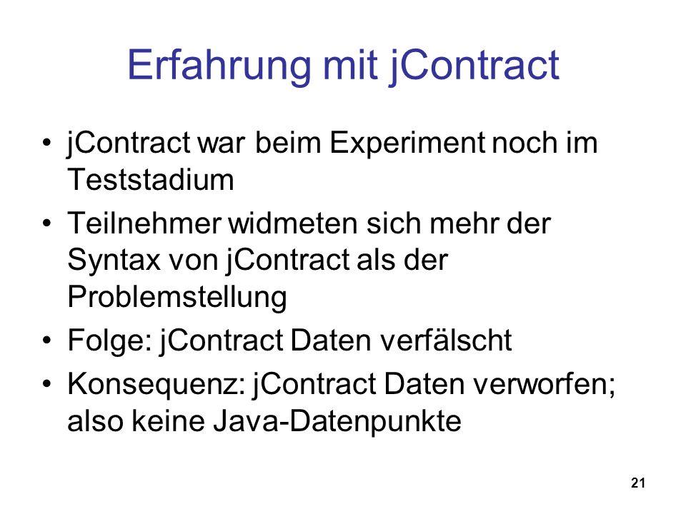 21 Erfahrung mit jContract jContract war beim Experiment noch im Teststadium Teilnehmer widmeten sich mehr der Syntax von jContract als der Problemste