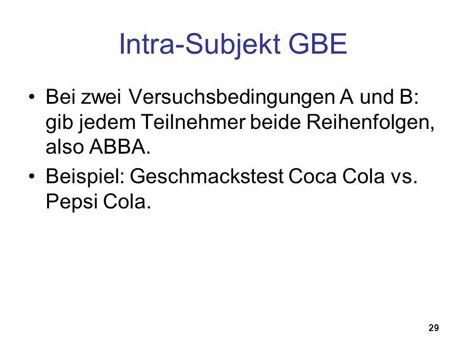 29 Intra-Subjekt GBE Bei zwei Versuchsbedingungen A und B: gib jedem Teilnehmer beide Reihenfolgen, also ABBA. Beispiel: Geschmackstest Coca Cola vs.