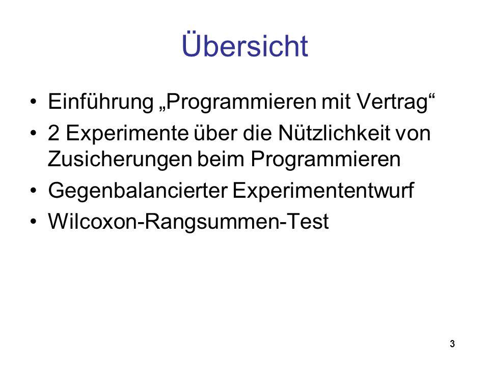 3 Übersicht Einführung Programmieren mit Vertrag 2 Experimente über die Nützlichkeit von Zusicherungen beim Programmieren Gegenbalancierter Experiment