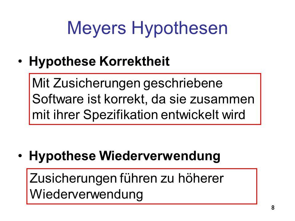 8 Meyers Hypothesen Hypothese Korrektheit Hypothese Wiederverwendung Mit Zusicherungen geschriebene Software ist korrekt, da sie zusammen mit ihrer Spezifikation entwickelt wird Zusicherungen führen zu höherer Wiederverwendung