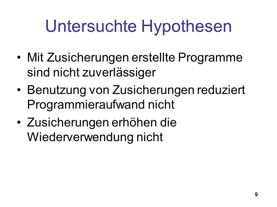 9 Untersuchte Hypothesen Mit Zusicherungen erstellte Programme sind nicht zuverlässiger Benutzung von Zusicherungen reduziert Programmieraufwand nicht Zusicherungen erhöhen die Wiederverwendung nicht