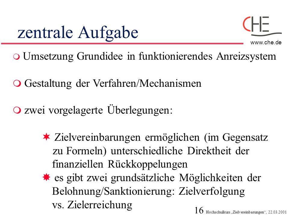 16 Hochschulkurs Zielvereinbarungen, 22.03.2001 www.che.de zentrale Aufgabe Umsetzung Grundidee in funktionierendes Anreizsystem Gestaltung der Verfah