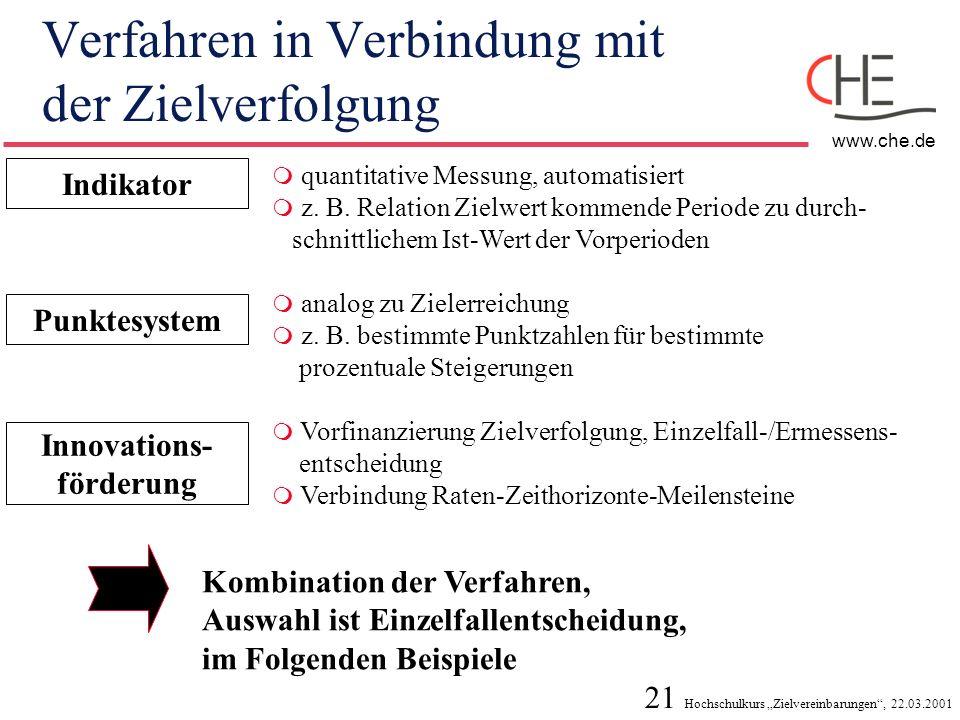 21 Hochschulkurs Zielvereinbarungen, 22.03.2001 www.che.de Verfahren in Verbindung mit der Zielverfolgung Indikator quantitative Messung, automatisier