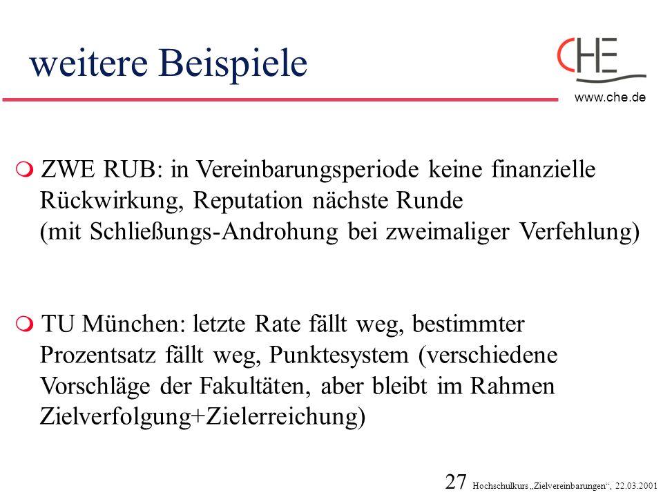 27 Hochschulkurs Zielvereinbarungen, 22.03.2001 www.che.de weitere Beispiele ZWE RUB: in Vereinbarungsperiode keine finanzielle Rückwirkung, Reputatio