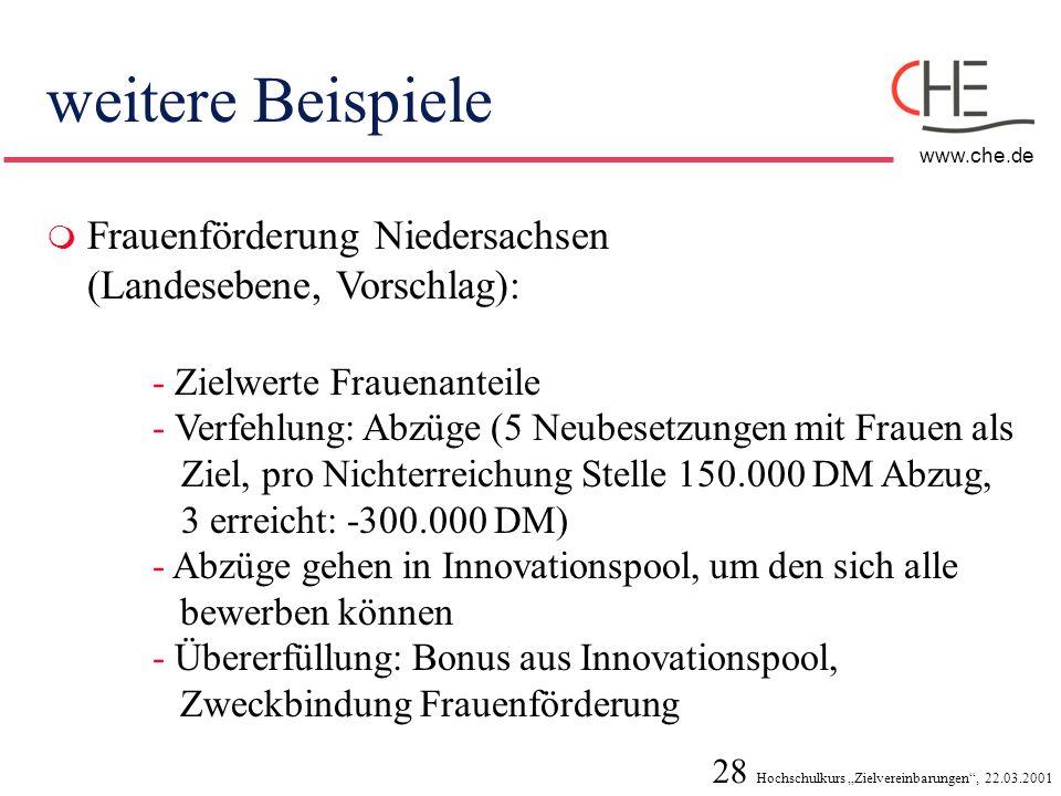 28 Hochschulkurs Zielvereinbarungen, 22.03.2001 www.che.de weitere Beispiele Frauenförderung Niedersachsen (Landesebene, Vorschlag): - Zielwerte Fraue