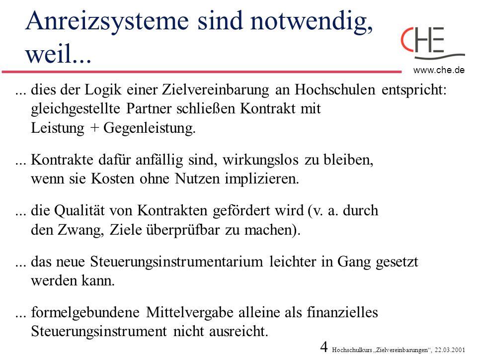4 Hochschulkurs Zielvereinbarungen, 22.03.2001 www.che.de Anreizsysteme sind notwendig, weil...... dies der Logik einer Zielvereinbarung an Hochschule