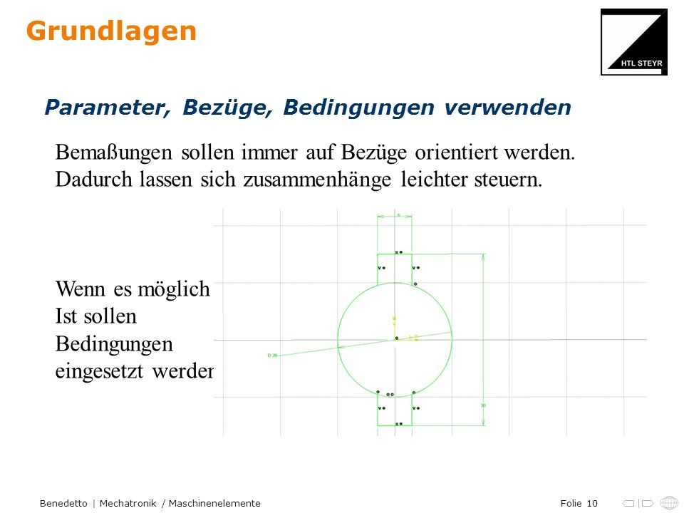 Folie 10Benedetto | Mechatronik / Maschinenelemente Grundlagen Parameter, Bezüge, Bedingungen verwenden Bemaßungen sollen immer auf Bezüge orientiert