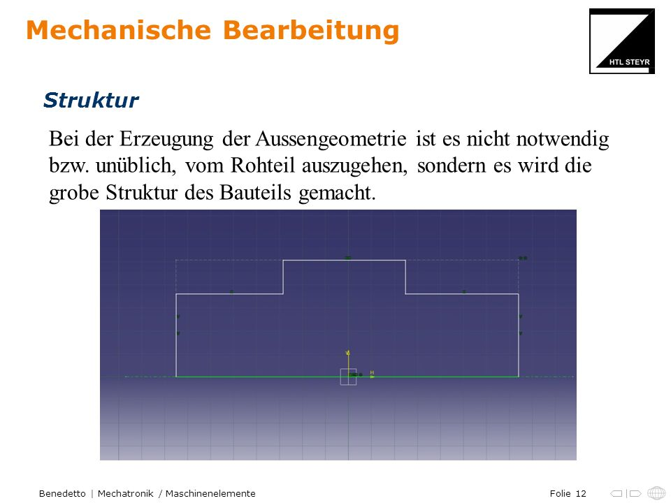 Folie 12Benedetto | Mechatronik / Maschinenelemente Mechanische Bearbeitung Struktur Bei der Erzeugung der Aussengeometrie ist es nicht notwendig bzw.