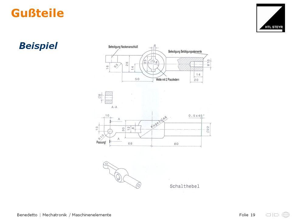 Folie 19Benedetto | Mechatronik / Maschinenelemente Gußteile Beispiel