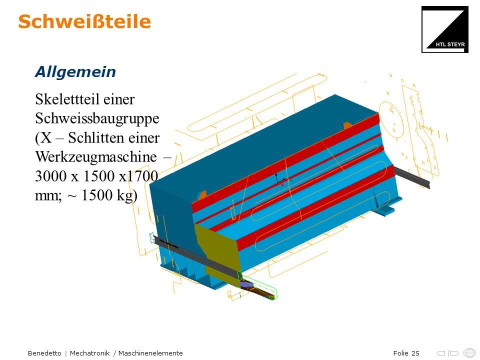 Folie 25Benedetto | Mechatronik / Maschinenelemente Schweißteile Skelettteil einer Schweissbaugruppe (X – Schlitten einer Werkzeugmaschine – 3000 x 15