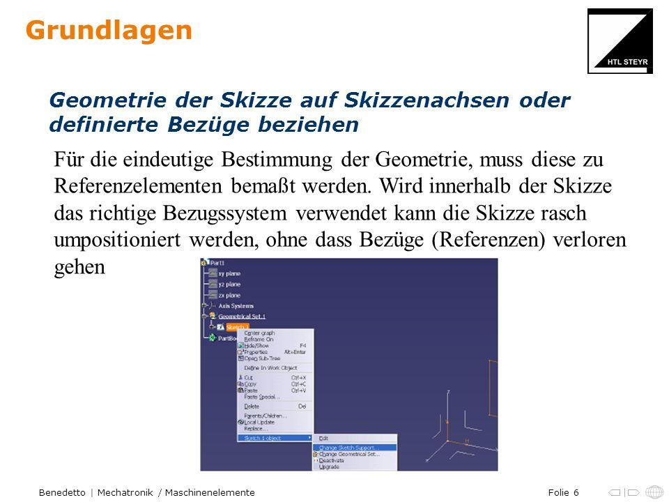 Folie 6Benedetto | Mechatronik / Maschinenelemente Grundlagen Geometrie der Skizze auf Skizzenachsen oder definierte Bezüge beziehen Für die eindeutig