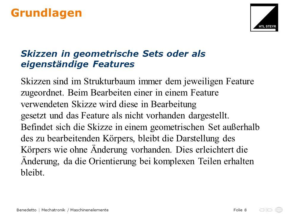 Folie 8Benedetto | Mechatronik / Maschinenelemente Grundlagen Skizzen in geometrische Sets oder als eigenständige Features Skizzen sind im Strukturbau