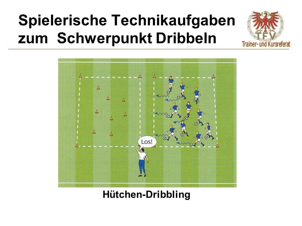 Spielerische Technikaufgaben zum Schwerpunkt Dribbeln Hütchen-Dribbling