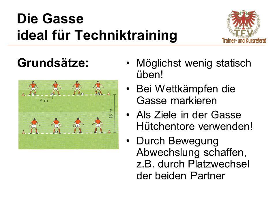 Die Gasse ideal für Techniktraining Möglichst wenig statisch üben! Bei Wettkämpfen die Gasse markieren Als Ziele in der Gasse Hütchentore verwenden! D