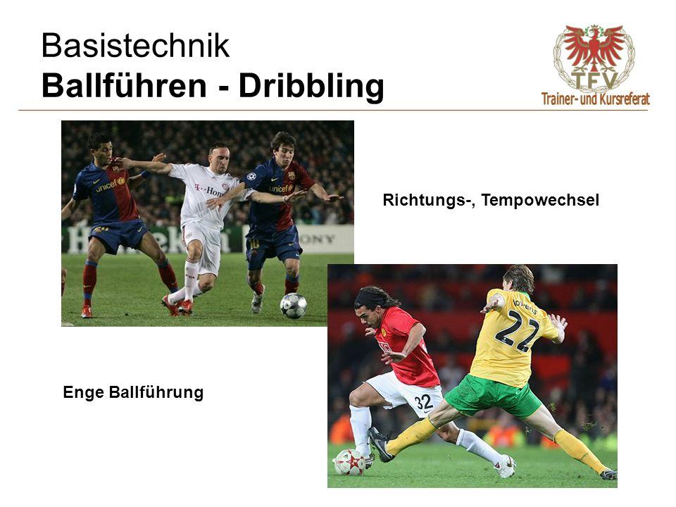 Basistechnik Ballführen - Dribbling Enge Ballführung In den Ball gehen Richtungs-, Tempowechsel