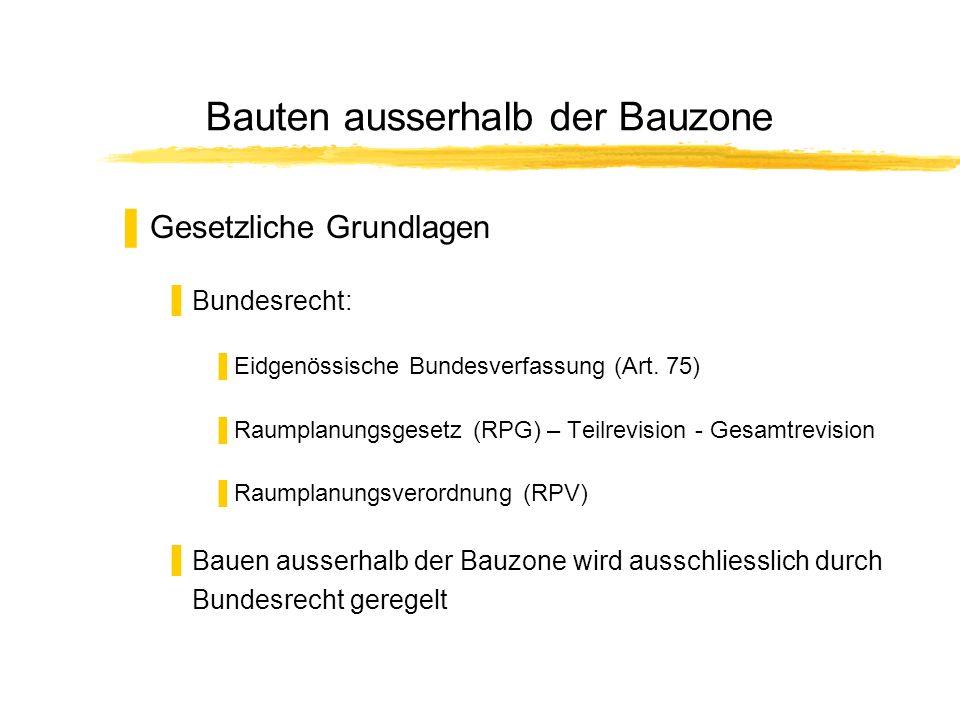 Bauten ausserhalb der Bauzone Gesetzliche Grundlagen Bundesrecht: Eidgenössische Bundesverfassung (Art. 75) Raumplanungsgesetz (RPG) – Teilrevision -