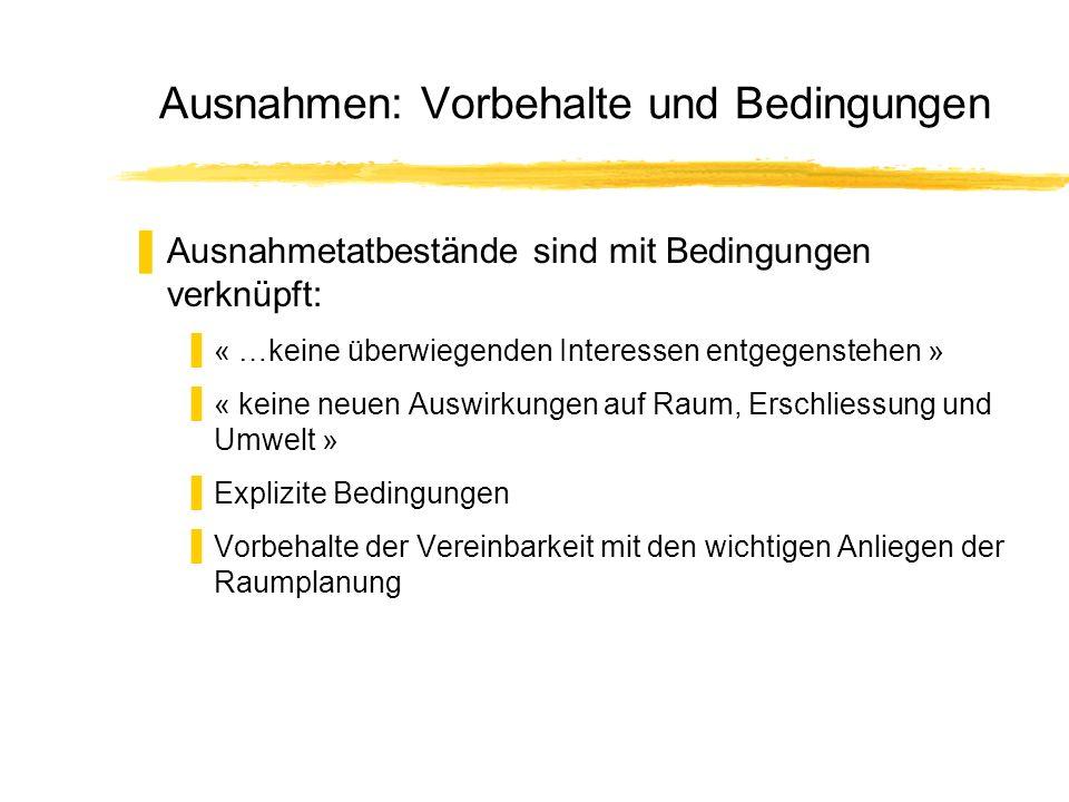 Ausnahmen: Vorbehalte und Bedingungen Ausnahmetatbestände sind mit Bedingungen verknüpft: « …keine überwiegenden Interessen entgegenstehen » « keine n