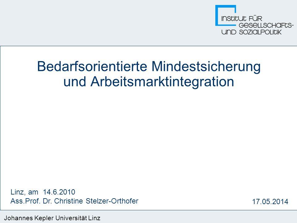 Johannes Kepler Universität Linz 17.05.2014 Bedarfsorientierte Mindestsicherung und Arbeitsmarktintegration Linz, am 14.6.2010 Ass.Prof. Dr. Christine